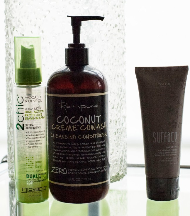 My picks for daily care are the Renpure Co-Wash and the Giovanni styling and moisturizing spray. The Surface styling cream is when I need to be a bit more, well, stylish.